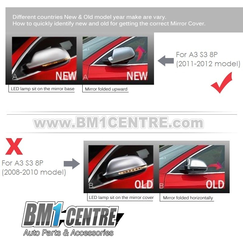 Audi A3 S3 8P (11'-12') SLine Style Mirror Cover (Lane